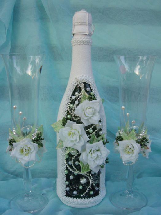 Оформление бутылок с шампанским своими руками фото